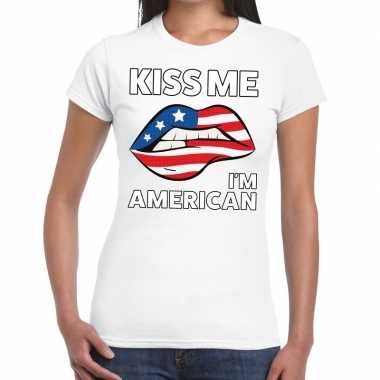 Kiss me i am american wit fun t shirt dames