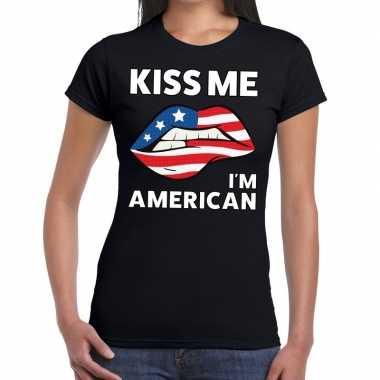 Kiss me i am american zwart fun t shirt dames