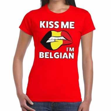 Kiss me i am belgian rood fun t shirt dames