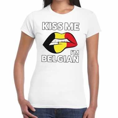 Kiss me i am belgian wit fun t shirt dames