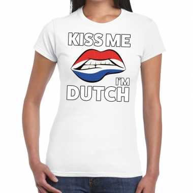 Kiss me i am dutch wit fun t shirt dames