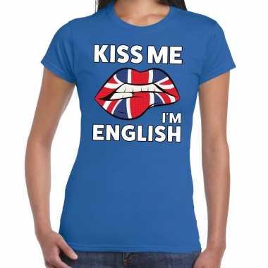 Kiss me i am english blauw fun t shirt dames