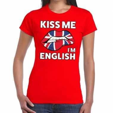 Kiss me i am english rood fun t shirt dames