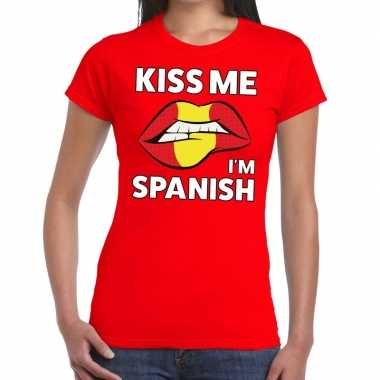Kiss me i am spanish rood fun t shirt dames