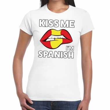 Kiss me i am spanish wit fun t shirt dames