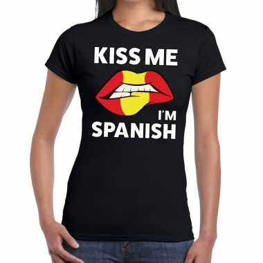 Kiss me i am spanish zwart fun t shirt dames