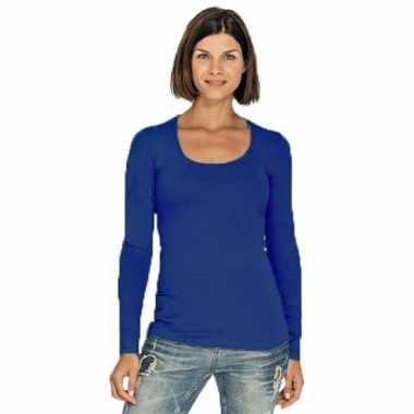 Kobaltblauw dames shirt ronde hals lange mouwen