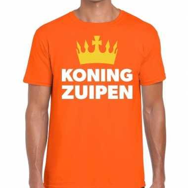 Koning zuipen t shirt oranje heren