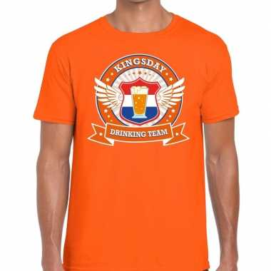 Koningsdag drinking team t shirt oranje heren