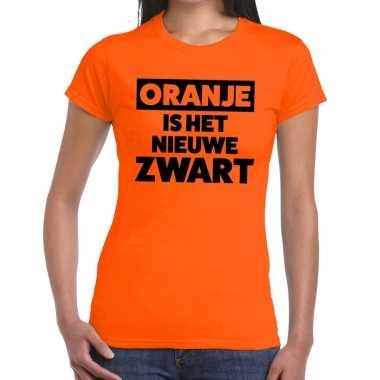 Koningsdag fun t shirt oranje is nieuwe zwart dames
