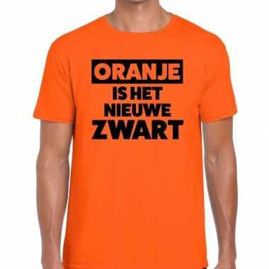 Koningsdag fun t shirt oranje is nieuwe zwart heren