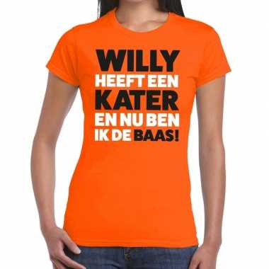 Koningsdag fun t shirt willy heeft een kater oranje dames