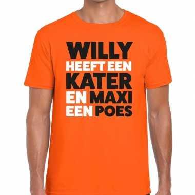 Koningsdag fun t shirt willy kater maxi poes oranje heren