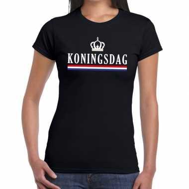 Koningsdag hollandse vlag kroontje t shirt zwart dames