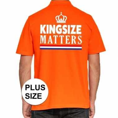 Koningsdag kingsize matters polo t shirt oranje kroon heren