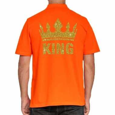 Koningsdag polo t shirt oranje gouden glitter king heren