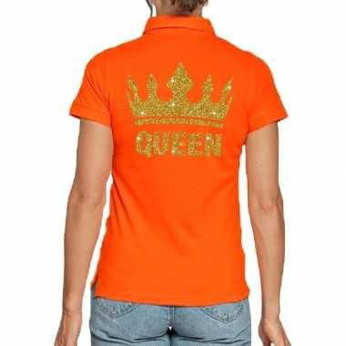 Koningsdag polo t shirt oranje gouden glitter queen dames