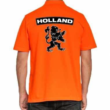 Koningsdag polo t shirt oranje holland grote zwarte leeuw heren