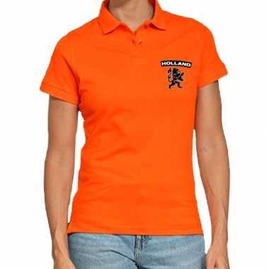 Koningsdag polo t shirt oranje holland zwarte leeuw dames