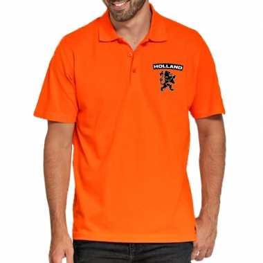 Koningsdag polo t shirt oranje holland zwarte leeuw heren