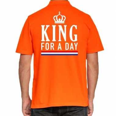 Koningsdag polo t shirt oranje king for a day heren