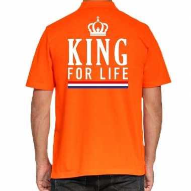 Koningsdag polo t shirt oranje king for life heren