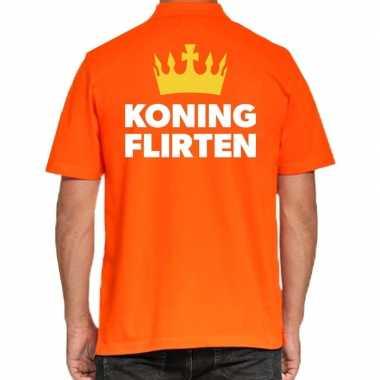 Koningsdag polo t shirt oranje koning flirten heren