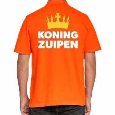 Koningsdag polo t shirt oranje koning zuipen heren