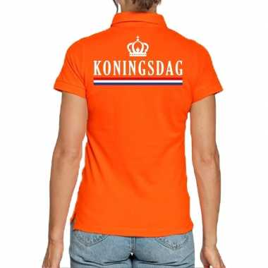 Koningsdag polo t shirt oranje kroon dames