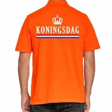Koningsdag polo t shirt oranje kroontje heren