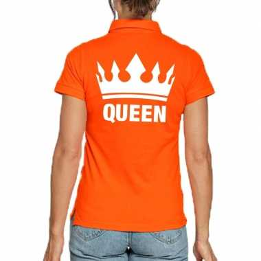 Koningsdag polo t shirt oranje queen dames