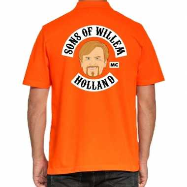 Koningsdag polo t shirt oranje sons of willem holland mc heren