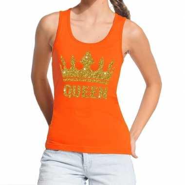 Koningsdag queen topje/shirt oranje gouden glitters dames