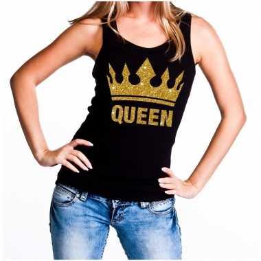 Koningsdag queen topje/shirt zwart gouden glitters dames
