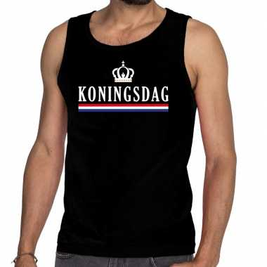 Koningsdag vlag kroon tanktop / mouwloos shirt zwart heren