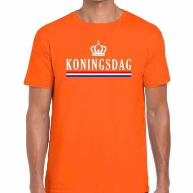 Koningsdag vlag kroontje t shirt oranje heren