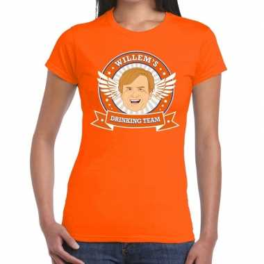 Koningsdag willem drinking team t shirt oranje dames