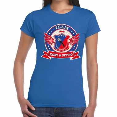 Kort pittig team t shirt blauw dames
