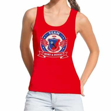 Kort pittig team tanktop / mouwloos shirt rood dames