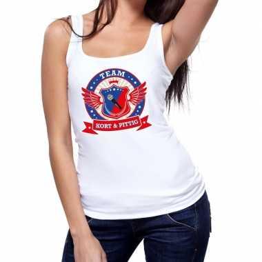 Kort pittig team tanktop / mouwloos shirt wit dames