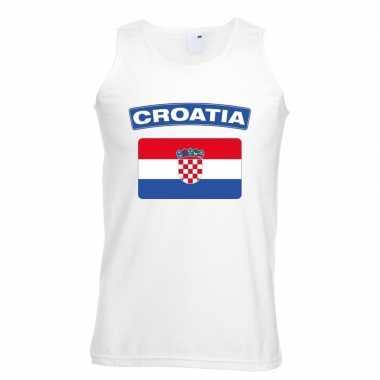 Kroatie vlag mouwloos shirt wit heren