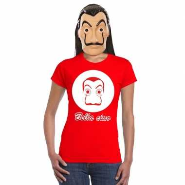 La casa papel masker inclusief rood dali t shirt dames