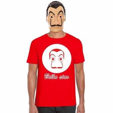 La casa papel masker inclusief rood dali t shirt heren