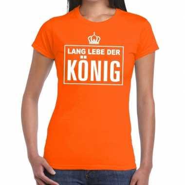 Lang lebe der konig duitse tekst shirt oranje dames