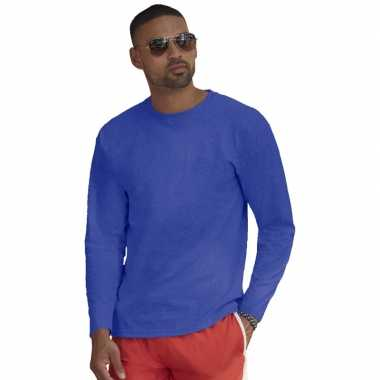Lange mouwen stretch t shirt blauw heren