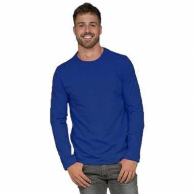 Lange mouwen stretch t shirt blauw heren
