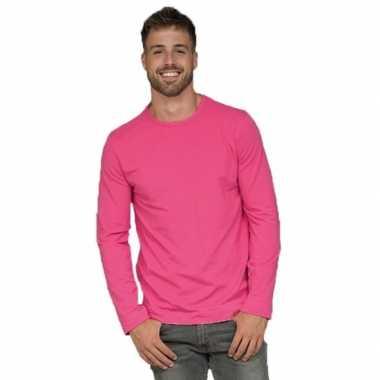 Lange mouwen stretch t shirt fuchsia roze heren