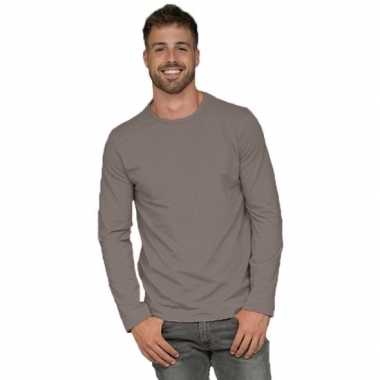 Lange mouwen stretch t shirt grijs heren