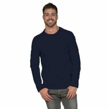 Lange mouwen stretch t shirt navy blauw heren