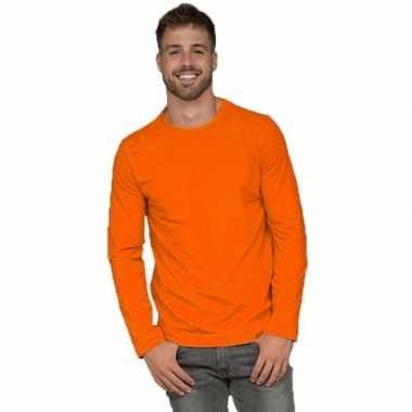 Lange mouwen stretch t shirt oranje heren